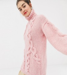 OneOn hand knitted cable jumper - Pink