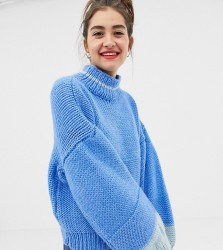 OneOn hand knitted colourblock jumper with balloon sleeve - Blue