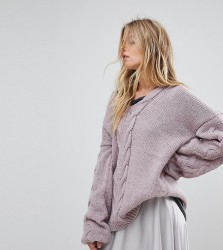 OneOn Hand Knitted Deep V Cable Jumper - Purple
