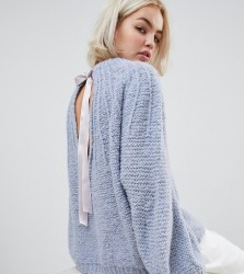 OneOn hand knitted fluffy dreams jumper with ribbon tie - Blue