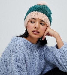 OneOn hand knitted fluffy teal hat - Green