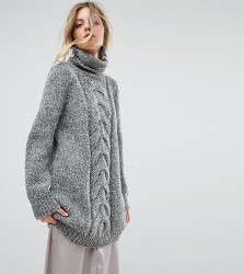 OneOn Hand Knitted High Neck Cable Dress - Grey