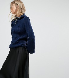 OneOn Hand Knitted High Neck Pom Pom Jumper - Navy
