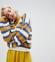 OneOn hand knitted multi stripe V neck jumper - Multi