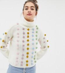 OneOn hand knitted multicoloured pom pom jumper - Cream