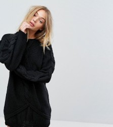 OneOn Hand Knitted Oversized Cable Dress - Black