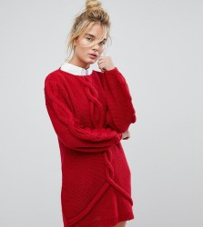 OneOn Hand Knitted Oversized Cable Dress - Red