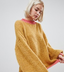OneOn hand knitted oversized jumper with contrast ribs - Yellow