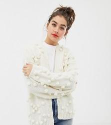 OneOn hand knitted pom pom cardigan - Cream
