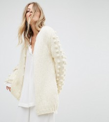 OneOn Hand Knitted Reversible Cardigan With Pom Pom Sleeves - Cream