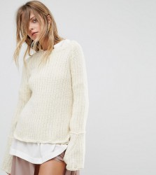 OneOn Hand Knitted Ribbed Flared Sleeve Jumper - Cream