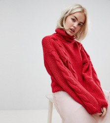 OneOn hand knitted roll neck cable jumper - Red