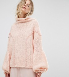 OneOn Hand Knitted Soft Cable Jumper - Pink