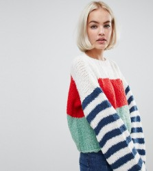 OneOn hand knitted stripe sleeve jumper - Multi