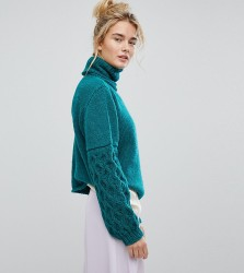 OneOn Hand Knitted Textured Sleeve Jumper - Green