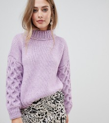 OneOn hand knitted textured sleeve jumper - Purple