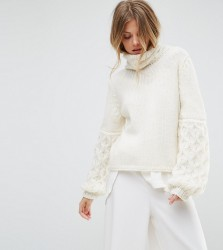 OneOn Hand Knitted Textured Sleeve Jumper - White