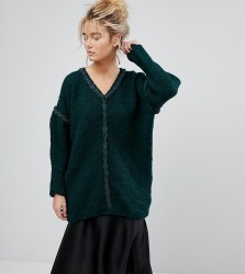 OneOn Hand Knitted V-Neck Oversized Jumper - Green