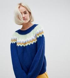 OneOn unisex hand knitted fairisle navy jumper - Multi