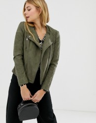 Only Cava faux leather biker jacket - Green