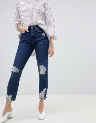 Only high waisted destroyed mom jean - Blue