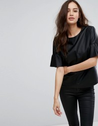 Only Leather Look Top With Ruffle Sleeves - Black