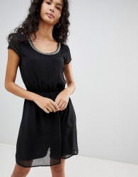 Only Nete Dafne Dress with Beaded Neck Trim - Black