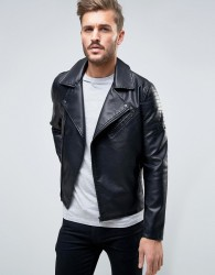 Only & Sons Biker Jacket In Faux Leather - Black