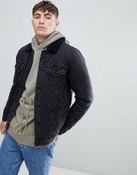 Only & Sons denim jacket with full borg lining - Black