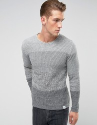 Only & Sons Knitted Jumper With Mixed Stripe Detail - Grey
