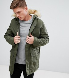 Only & Sons Parka With Faux Fur Borg Lined Hood - Black