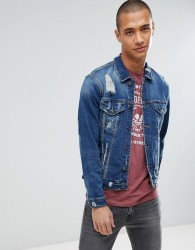 Only & Sons Rip & Repair Distressed Denim Jacket - Blue