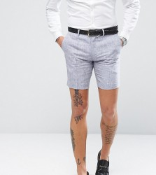 Only & Sons Skinny Shorts In Linen - Navy
