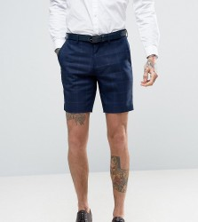 Only & Sons Skinny Shorts In Textured Check - Navy