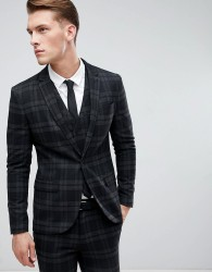 Only & Sons Skinny Suit Jacket In Check - Black