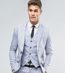 Only & Sons Skinny Suit Jacket In Linen - Navy