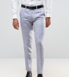 Only & Sons Skinny Suit Trousers In Linen - Navy