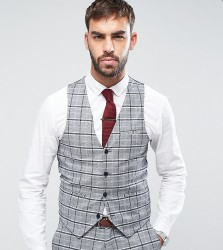 Only & Sons Skinny Waistcoat In Check - Grey
