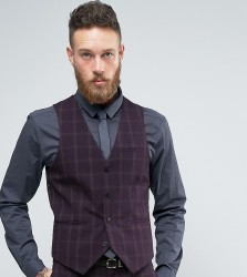 Only & Sons Skinny Waistcoat In Check - Navy