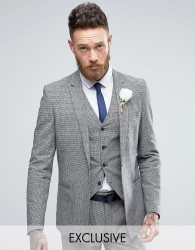 Only & Sons Skinny Wedding Square Hem Suit Jacket In Dogstooth - Navy