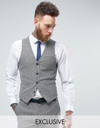 Only & Sons Skinny Wedding Waistcoat In Summer Dogstooth - Navy