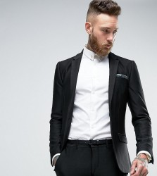 Only & Sons Super Skinny Suit Jacket In Jersey - Black