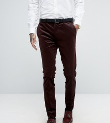 Only & Sons Super Skinny Suit Trouser In Cord - Red