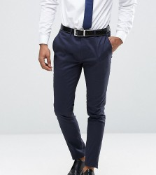 Only & Sons Super Skinny Trousers In Cotton Sateen - Navy