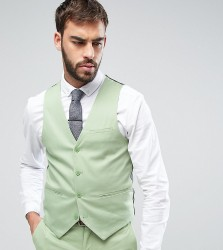 Only & Sons Super Skinny Waistcoat In Cotton Sateen - Green