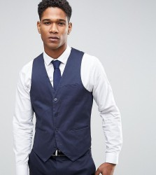 Only & Sons Super Skinny Waistcoat In Cotton Sateen - Navy