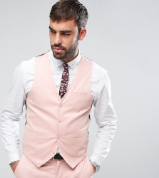 Only & Sons Super Skinny Waistcoat In Cotton Sateen - Pink