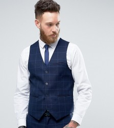 Only & Sons Super Skinny Waistcoat In Textured Check - Navy