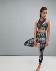 Onzie Printed Crop Sporty Yoga Leggings - Multi