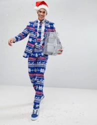 OppoSuits Suit Tie In Xmas Print - Blue